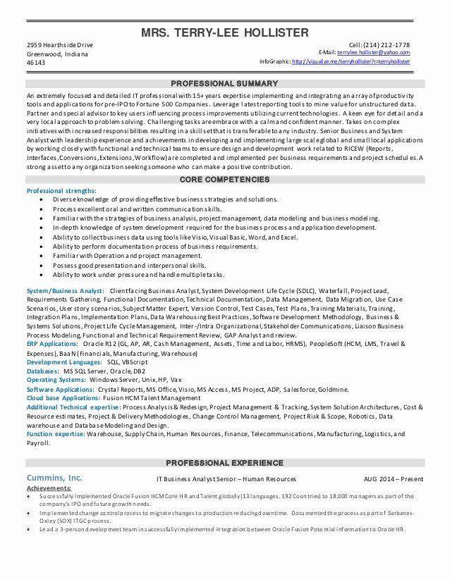 Senior Business Analyst Resume 2 Lovely Resume Sr Business Analyst In 2021 Business Analyst Resume Business Analyst Resume