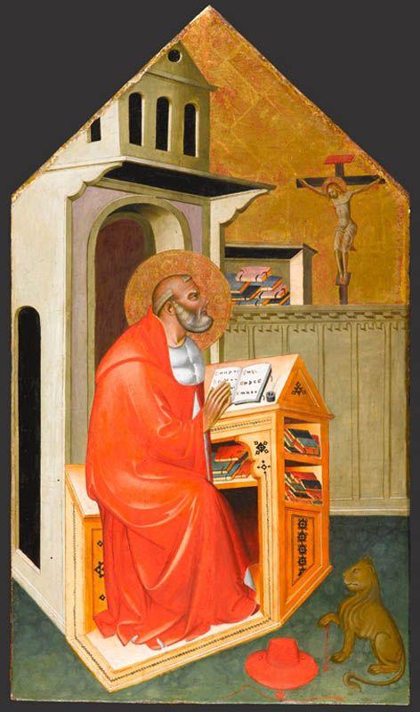 St. Jerome in His Study // circa 1390–1400 // Master of San Jacopo a Mucciana #ChurchFathers #Bible #DoctorOfTheChurch #Vulgate #Vulgata