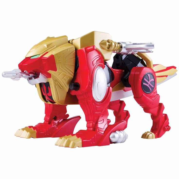 Charge into the fight as a lion or a battle vehicle with the Power Rangers Super MegaForce Wild Force Red Lion.