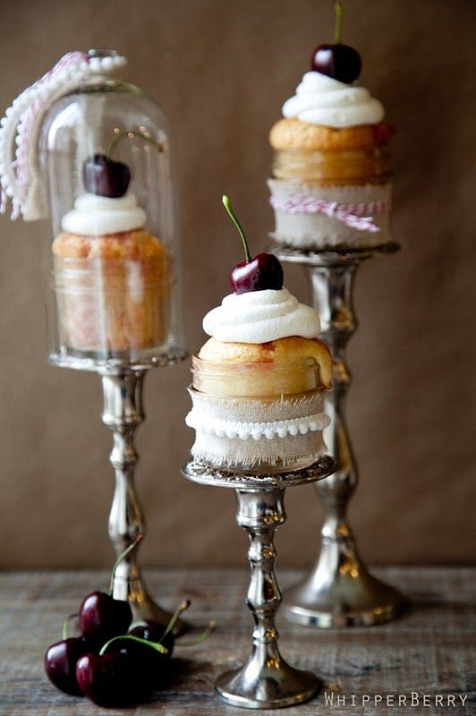 Desserts, Ball Jars, Ideas, Cupcake Stands, White Chocolates Cupcakes, Candles, Cupcakes Display, Cupcakes Holders, Cupcakes Stands