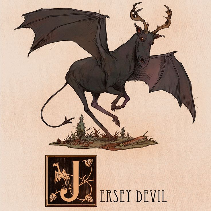 The Jersey Devil is a legendary cryptid believed to inhabit the Pine Barrens of Southern New Jersey. The creature is described as being a winged bipedal, hooved creature.