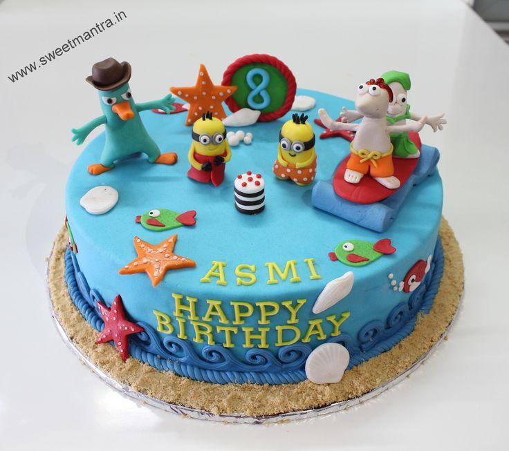 Homemade Eggless 3D/Custom Phineas and Ferb theme 8th birthday cake for girl at Kothrud, Pune