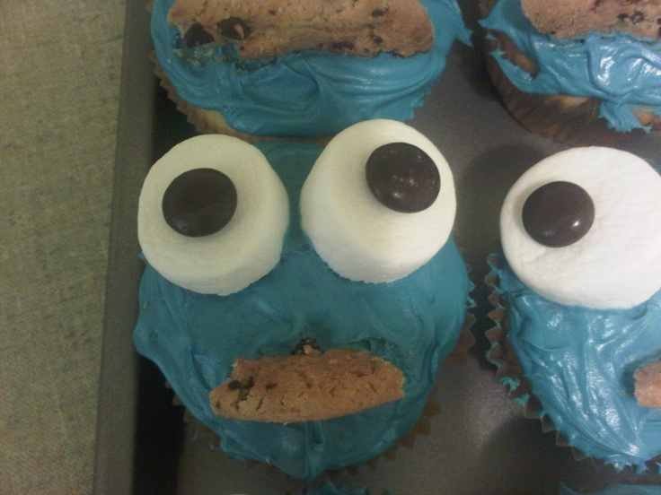 Cookie Monster Cupcakes Turned Out Pretty Good. Cake Mix