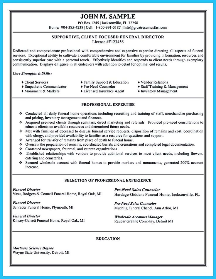 Funeral Director Resume. funeral home director resume examples ...