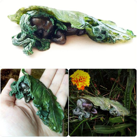 Hand painted sleeping dryad miniature figurine by Gemsplusleather - 34.43$ Cutest fantasy creature - sleeping baby dryad covered with a leaf with a frog sitting on it. It's a hand painted polymorph figurine, which can be used as a home decor or collectible miniature. :) Is available in my Etsy shop Gemsplusleather ;) #polymorph #molding #frog #baby-fairy #sleeping #dryad #baby #handpainted #winter #summer #figurine #leaf #fairy #handmade #gemsforall #gemsplusleather #faerie #fantasy…