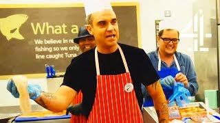 Robbie Williams Becomes A Supermarket Fishmonger | Alan Carr's Happy Hour  Robbie Williams and Alan Carr have some fun at the local Tesco. Find out more here: http://www.channel4.com/programmes/alan-carrs-happy-hour