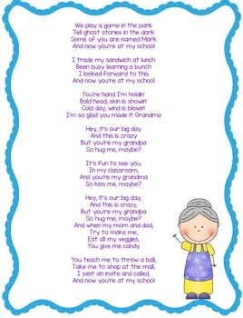 "Grandparents Day Song Lyrics to the Tune of ""Call Me Maybe"""