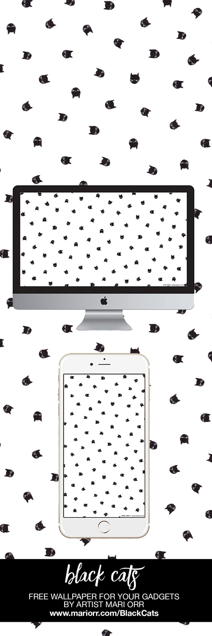 Halloween goodies! Adorable painted watercolor Black Cats wallpaper in a polka dot pattern ushers in October with a whimsical MEOW. Button nose and whiskers included. Free wallpaper for desktop and phone.