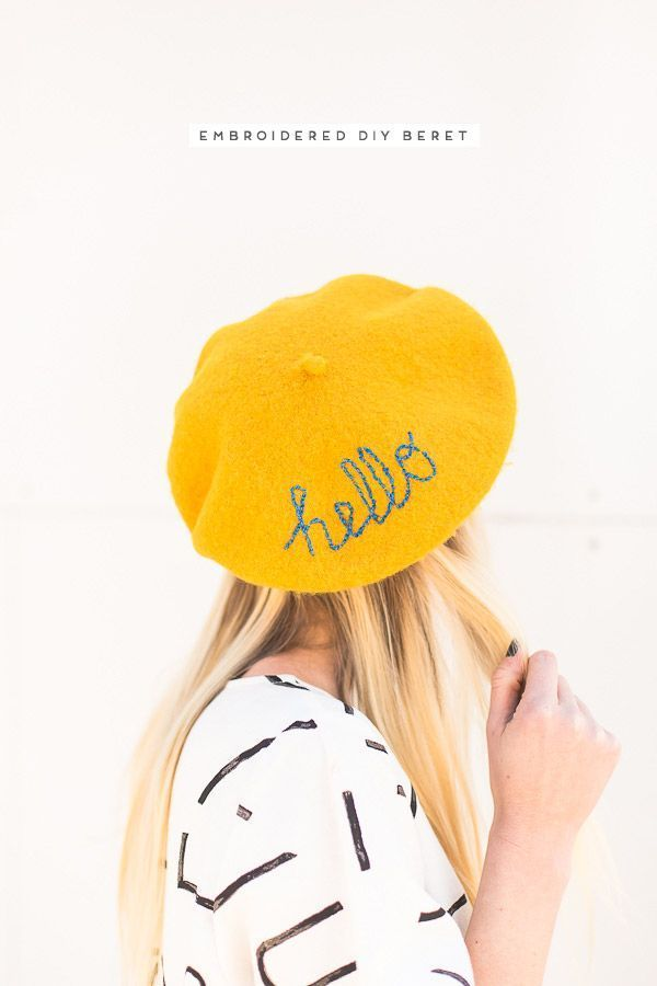 3c385a0c39b65 DIY Beret! Embroider a message on an inexpensive beret to standout from the  crowd.  diy  embroidery  beret  tutorial  fashion