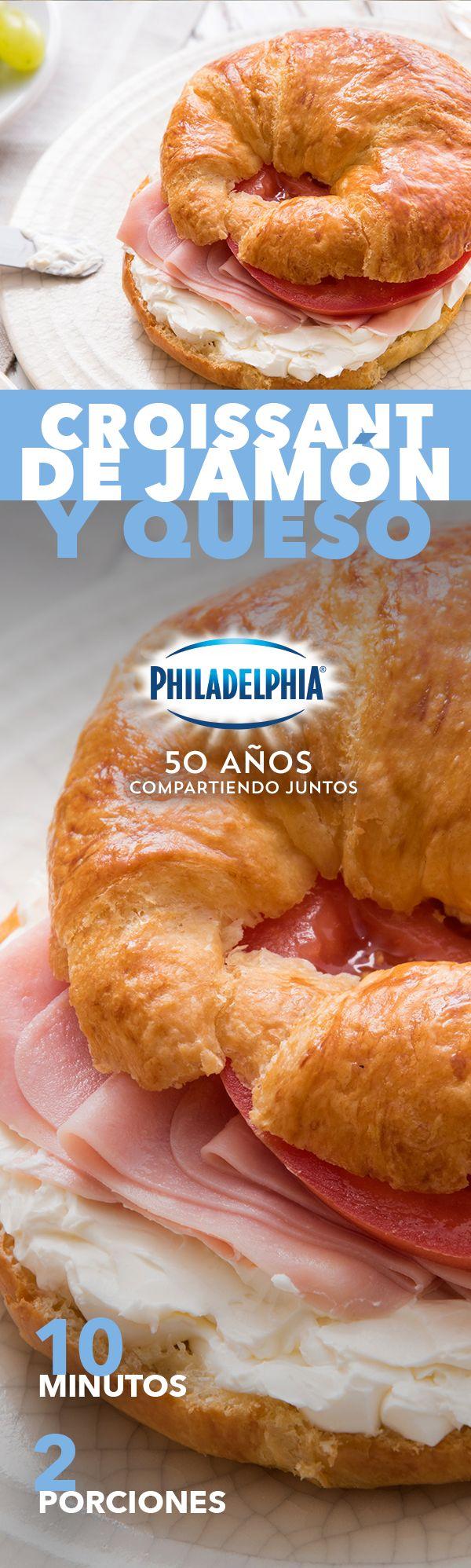 Cuando se te hace tarde necesitas un desayuno de 5 minutos, por eso te compartimos este Croissant de jamón y queso.    #croissantphiladelphia #croissant #jamon #desayuno #desayunos #cuernito #queso #quesocrema #Philadelphia #QuesoPhiladelphia #QuesoCremaPhiladelphia #recetasfaciles #desayunar #recetasdesayunos