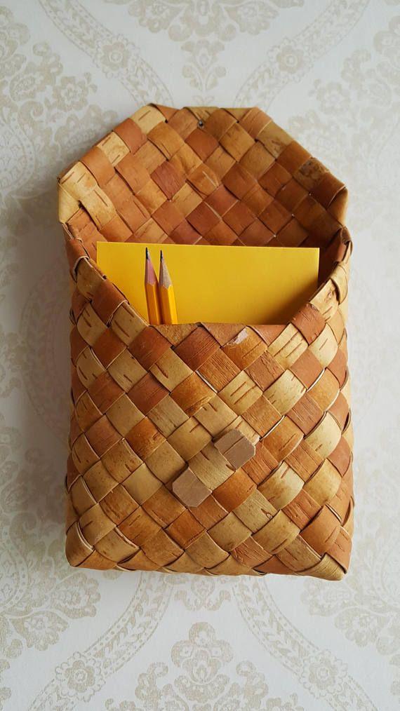 Vintage Big Birch bark Wall basket Handwoven in Finland 1970s