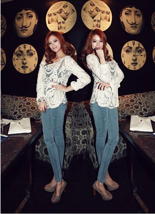 S1446 crochet lace hollow pullover blouse-white