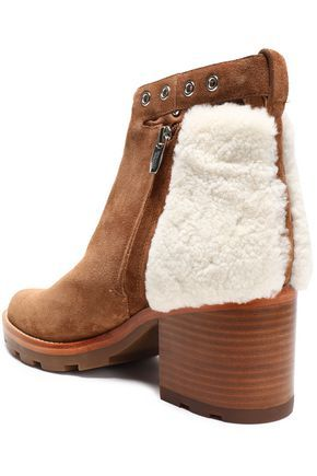 36a605efb69 ShopStyle Collective Ankle boots Shearling Suede Round toe Wooden heel  Buckle-fastening ankle strap Zip