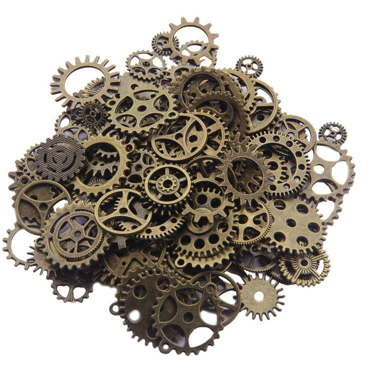 Mix 100pcs Vintage steampunk Charms Gear Pendant Antique bronze Fit Bracelets Necklace DIY Metal Jewelry Making F0206A - Alternative Measures -