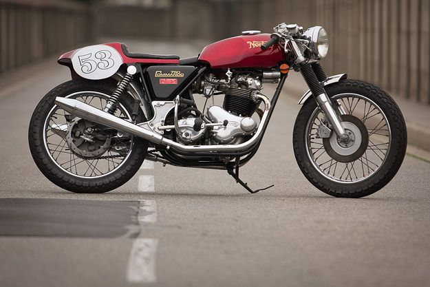 A hint of cafe racer in this beautifully restored 1973 Norton Commando from France.