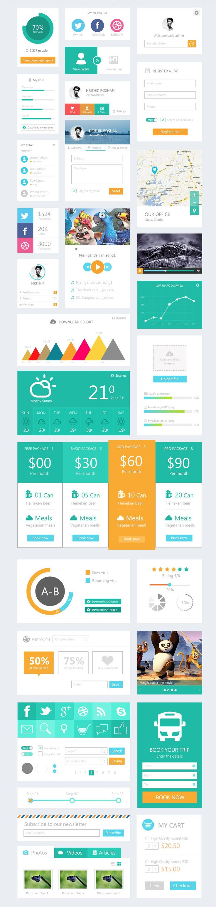 Free Flat UI Kit, #Buttons, #Cart, #Chart, #Chat, #Checkbox, #Dropdown, #Flat…