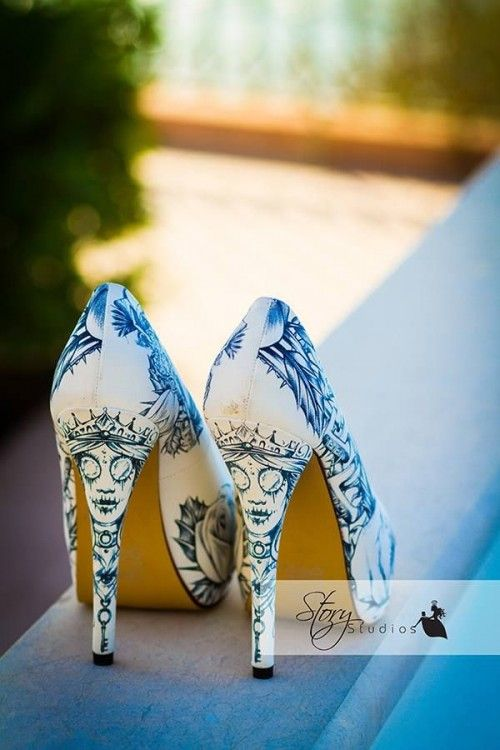 Awesome Halloween Wedding Shoes! Perfect For A Skeleton Bride Or Corpse Bride!