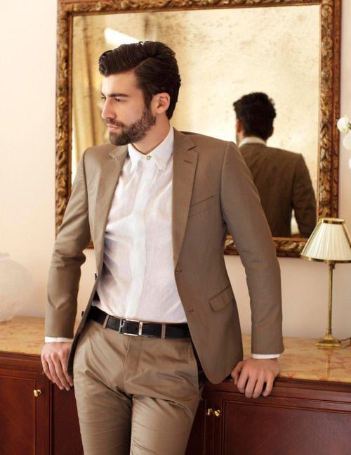 khaki suit white shirt no tie