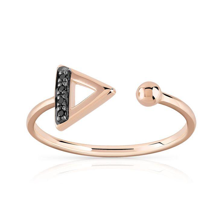 Bague or 375 rose diamant noir - Femme - Bague   MATY