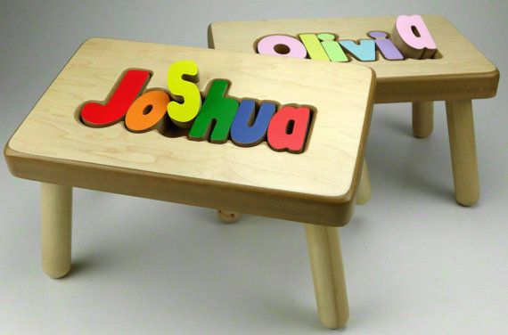 Personalized Name Puzzle Stool - teach your child to match letter shapes AND spell their name! Want it!