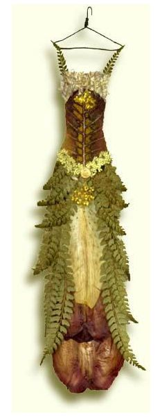 This would make a good inspiration for a jewelry stand or adornment for a fairy - this is made of flower petals and looks like a fairy dress