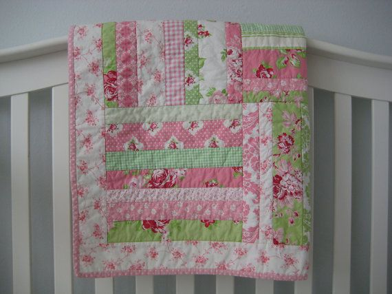 Shabby Chic baby girl quilt. Consider blue instead of green