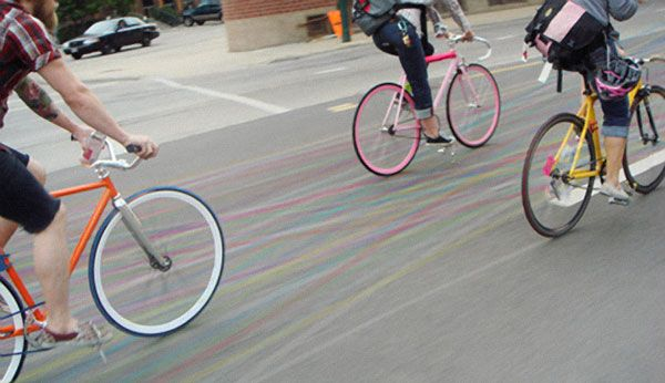 Contrail bicycle chalk: The Roads, Riding A Bike, Bicycle-Built-For-Two, Bike Riding, Street Art, Sidewalk Chalk, Tandem Bicycles,  Tandem Bicycle, Bike Accessories