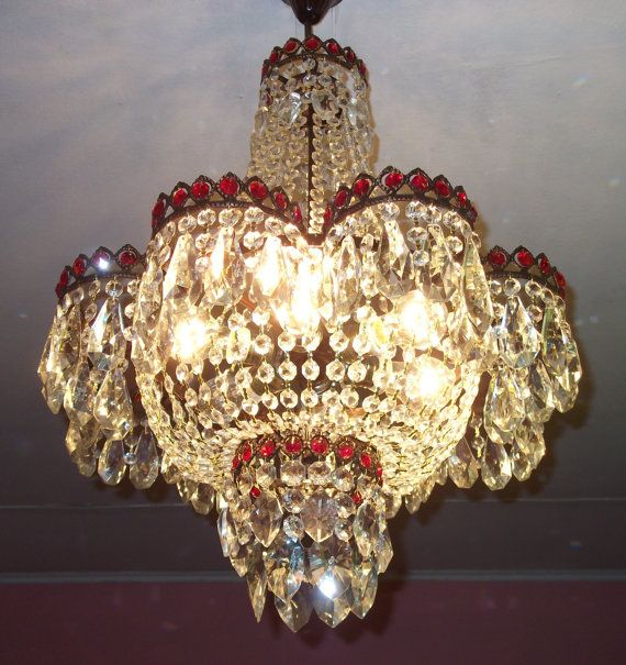 Antique Ceiling Light Vintage French Brass Art Nouveau Crystal Chandelier 80 Cm Dining Room Ligting