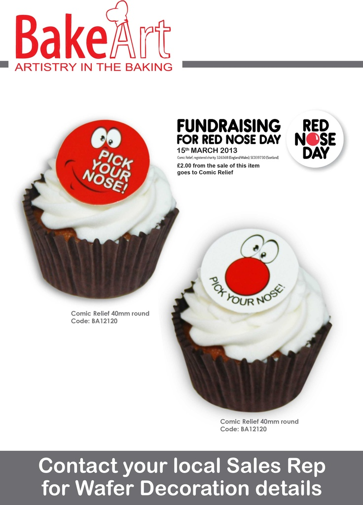 Cake Decorations For Red Nose Day : Bakeart is supplying Comic Relief 2013 cake decorations ...