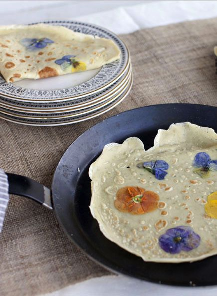 Beautiful, floral pancakes! What a cute idea!