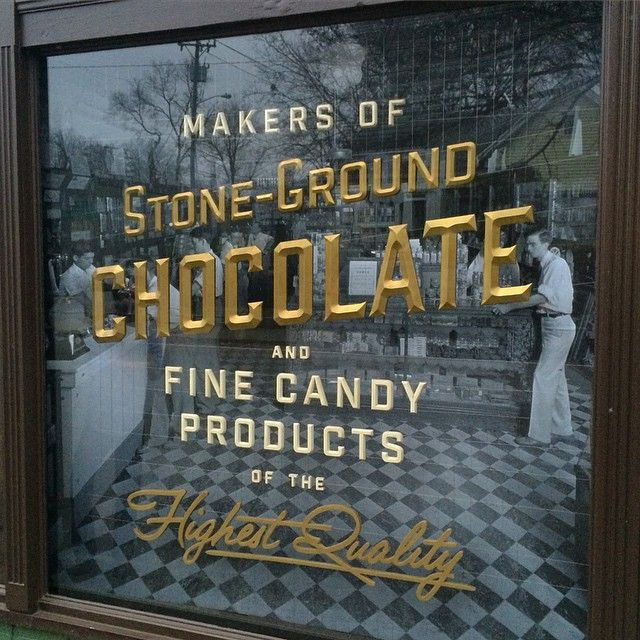 Window display for @oliveandsinclair . Dimensional gold beveled lettering floating on wire mesh in front of concave print. Really needs to be seen in person for full effect so head over there! 1628 Fatherland at nashville  #chocolatefactory #dimensionaltypography