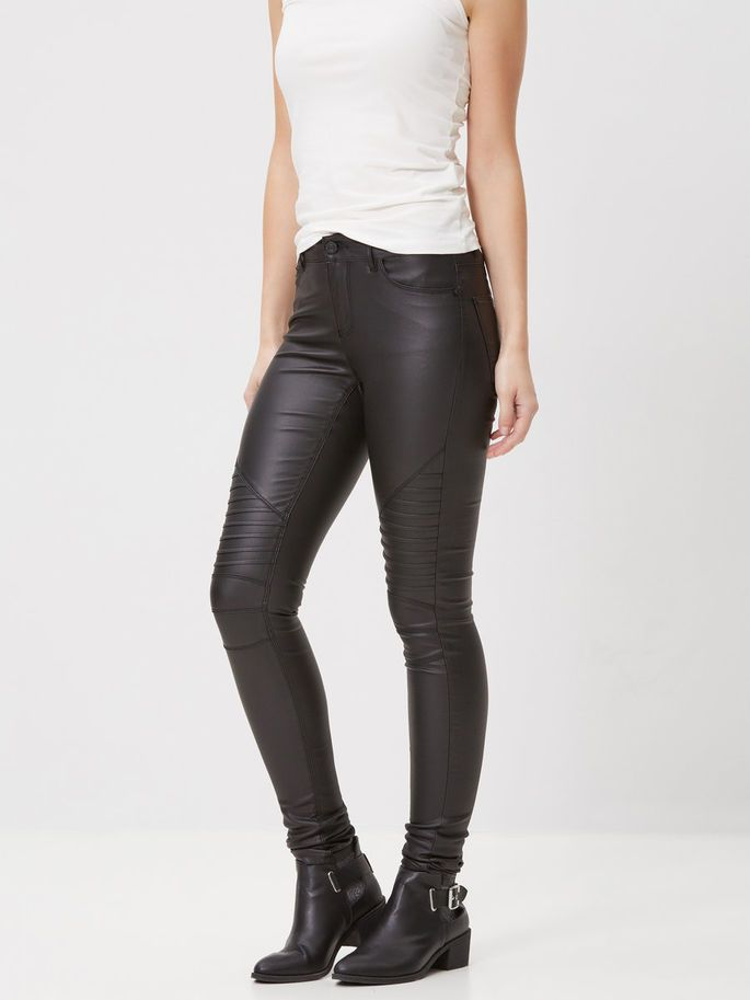 Black coated jeans and boots