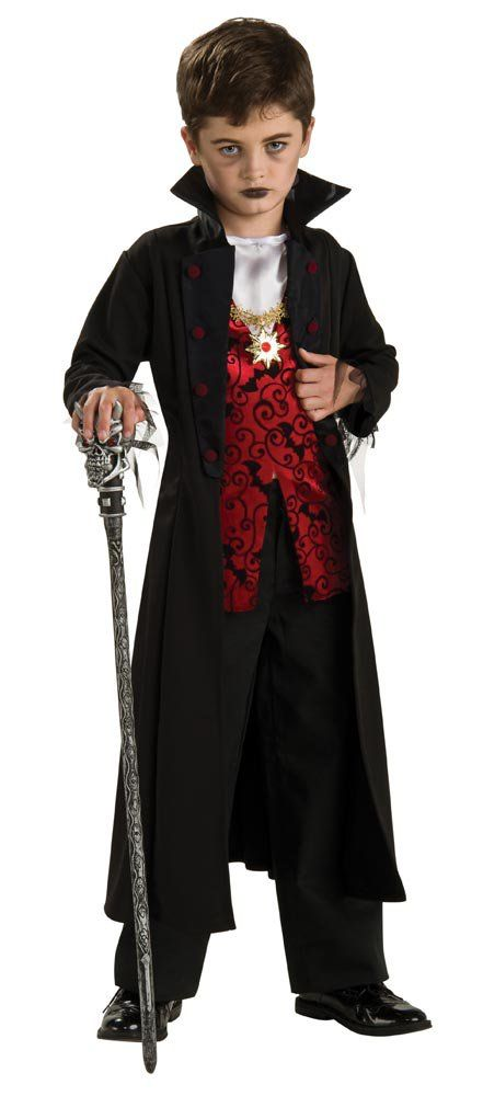 this boys scary costume includes vampire jacket with attached vest and medallion