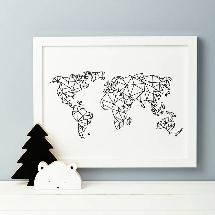 A beautiful nursery print featuring the world map in geometric form.Our drawing is a fun representation of the world, we can also print with Antarctica so please choose from the design you would prefer. Perfect to suit any nursery design and to make a bold statement piece. These can be printed in any colour outline from our options to the right.Highest quality pigment inks, with ultrachrome technology, are used on 225gsm 100% cotton archival paper to create your personalised print. Prints…