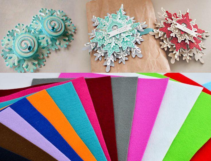 Новогодние снежинки своими руками из фетра. Плоские снежинки резьбой и загибами делаем объемной, украшаем бусинами, стразами и небольшим декоративным цветком.