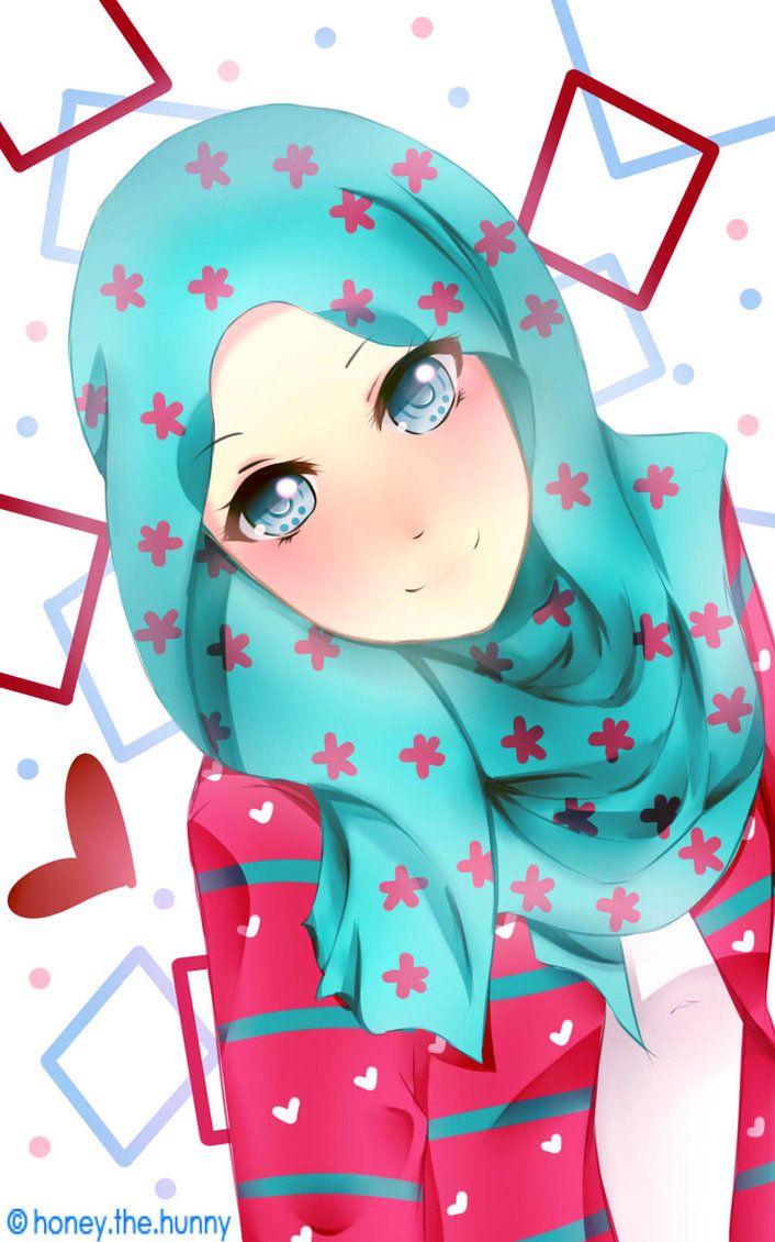 87 Gambar Anime Hijab Lucu Terlihat Keren