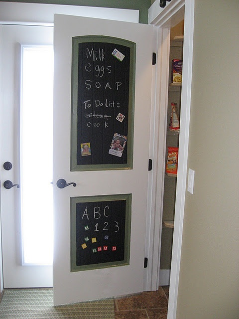 Chalkboard pantry doors. Paint the whole door and have room for a changeable border or quote!