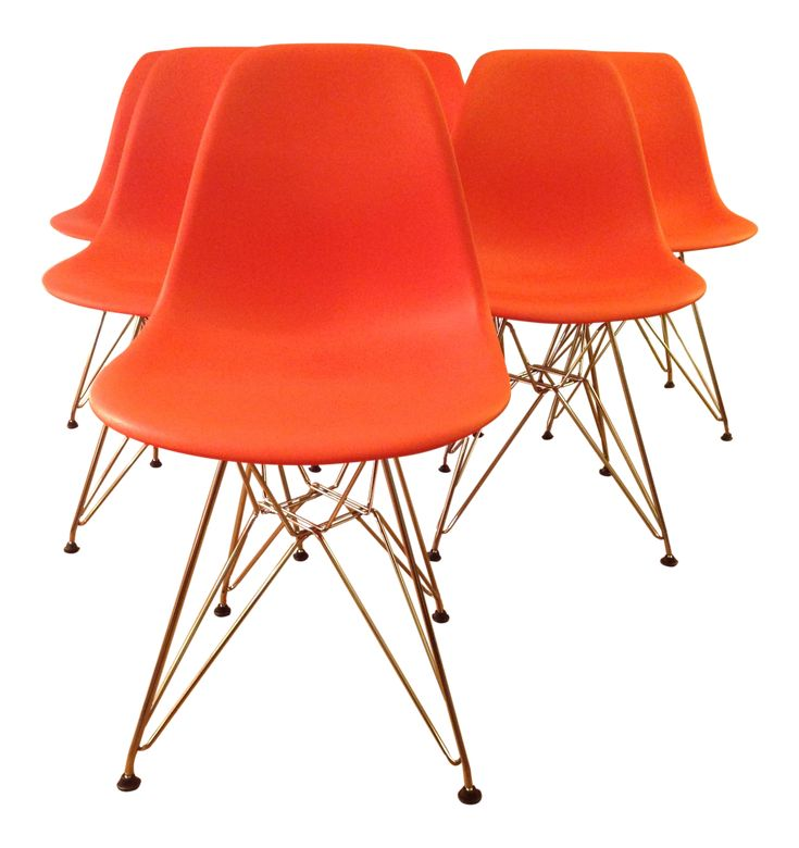 Eames Molded Plastic Dining Chairs - Set of 6 on Chairish.com