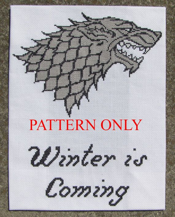 Stark Sigil and Words - Game of Thrones Cross Stitch Pattern. $4.00, via Etsy.
