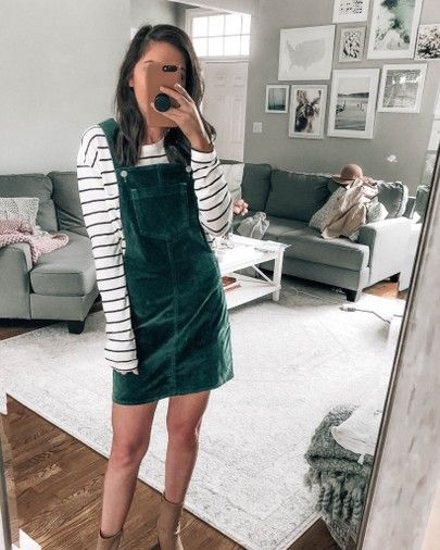 fddb3949bc green corduroy overall dress layered with striped tee, tan booties, fall  outfit inspo, fall style ideas @prettyinthepines