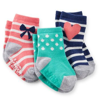 3-Pack Print Socks from Carter's. She'll kick up her heels in these cute print socks that are full of patterns every girl will enjoy.
