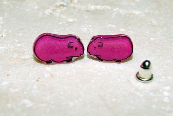 Liebes Meerschweinchen-Ohrstecker. Hot Pink!(Warum nicht?). Jeder Ohrring ist eine original Feder und Tinte-Illustration, nicht kopiert oder