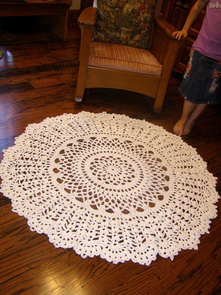 "Giant 60"" Crochet Rug White Cotton Doily Rug. $125.00, via Etsy."
