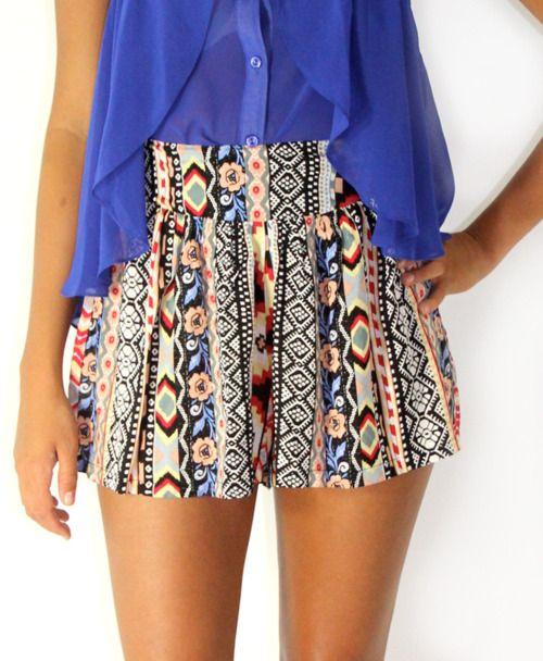shorts: Patterns Shorts, High Waist, Tribal Shorts, Cute Shorts, Colors Combinations, Summer Fun, Jeans Shorts, Tribal Prints, Aztec Prints Shorts