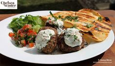Chelsea's Lebanese Style Meatballs with BBQ'd Bread and Yoghurt Dressing