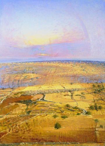 La #Sicilia vista dagli artisti - Franco Polizzi - Tramonto sull'alto piano ibleo - 2003 #typicalsicily