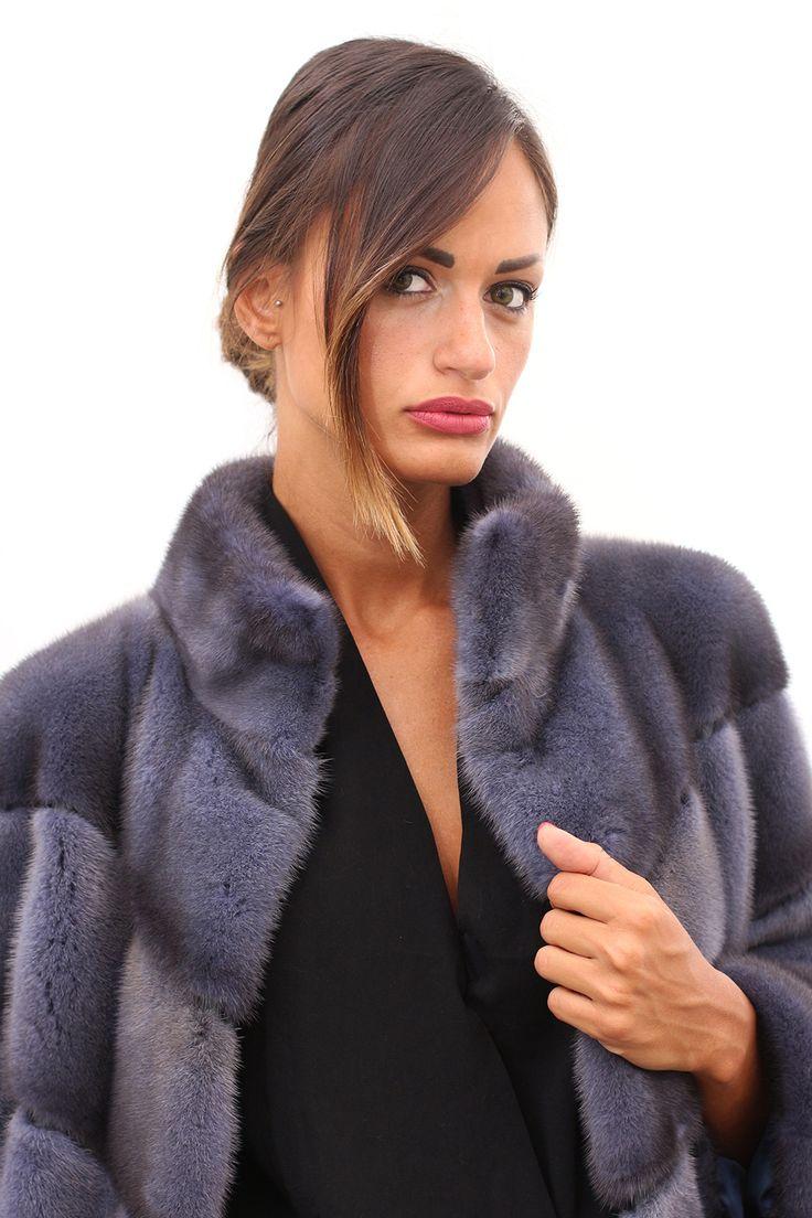 Female Mink coat with whole skins. Made in Italy. Skins Quality: KOPENHAGEN FUR PLATINUM; Color: Blue Denim; Closure: With hooks; Collar: Round; Lining: 100% Satin; Lining Color: Fantasy, Multicolor; Lunghezza: 85 cm; #elsafur #fur #furs #furcoat #coat #mink #minkcoat #cappotto #peliccia #pellicce