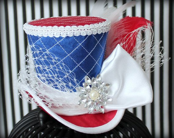 4th of July Mini Top Hat Red White and Blue by LittleMissHattitude
