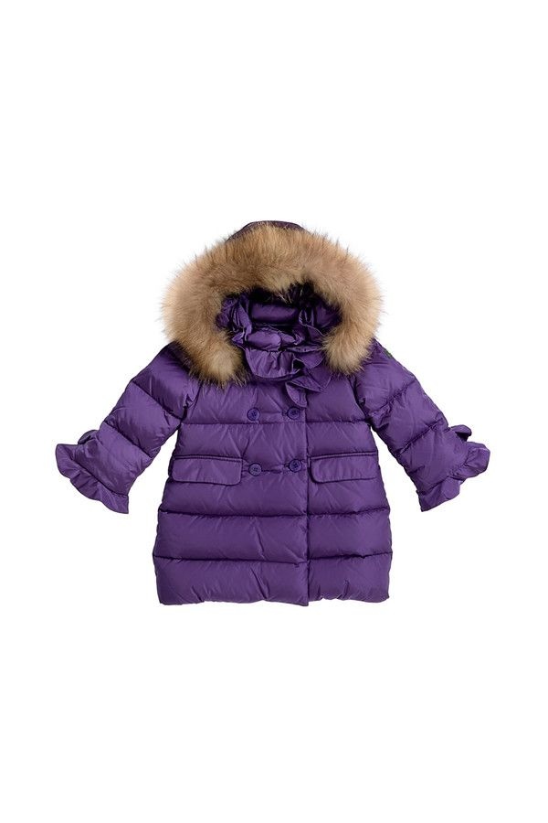 Double-breasted down-filled jacket with fur-trimmed hood. #ilgufo #fw13 #shopping #downjacket #fashionkids #childrenswear #fashion #musthave #girls