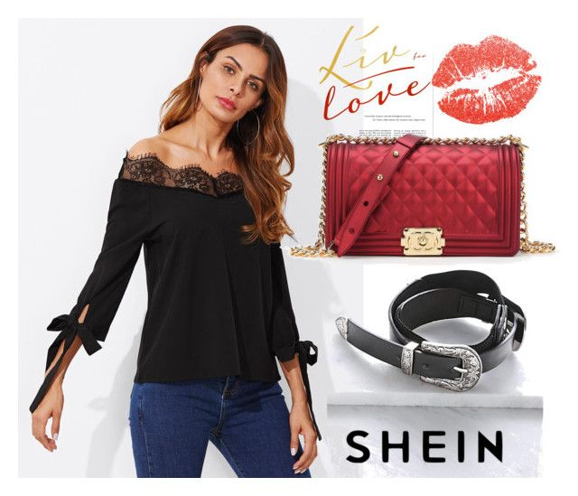 """""""SHEIN Bow Tie Sleeve Lace Trim Bardot Top"""" by decor4 ❤ liked on Polyvore"""